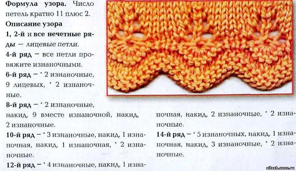 Вязание спицами низ с закруглен